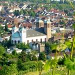 Blick vom Bensheimer Kirchberg auf die kath. Kirche St. Georg